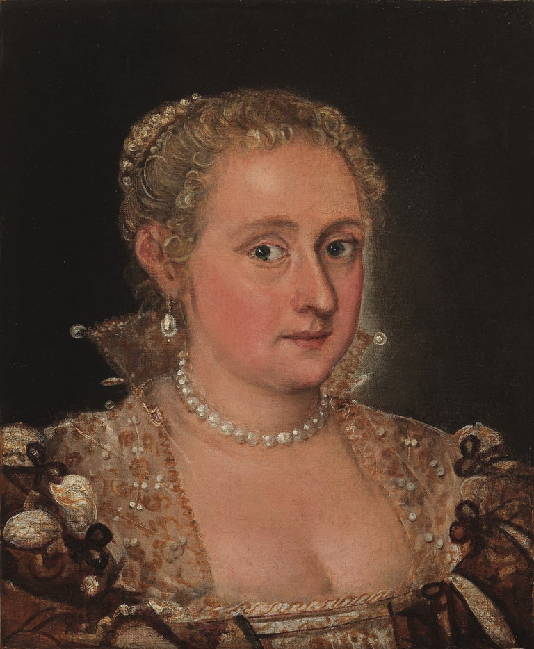 Domenico Tintoretto Portrait Painting - Portrait of a Young Lady