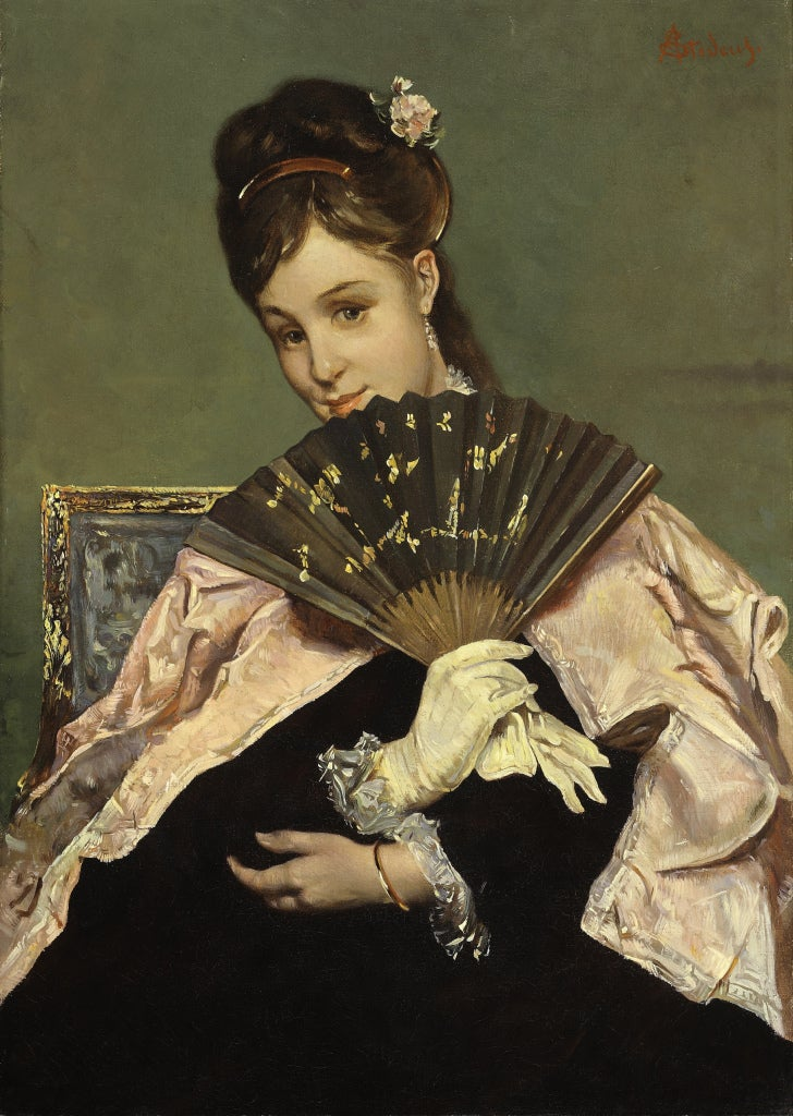 Portrait of a Young Lady with Fan - Painting by Alfred George Stevens