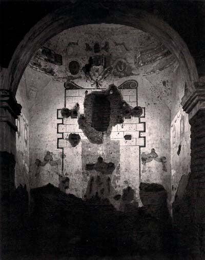 Ansel Adams Black and White Photograph - Interior of Tumacoacori Mission, Arizona