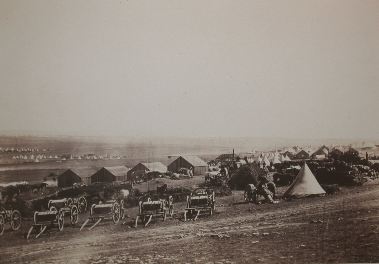 Roger Fenton Black and White Photograph - Artillery Wagons, Balaklava in the Distance