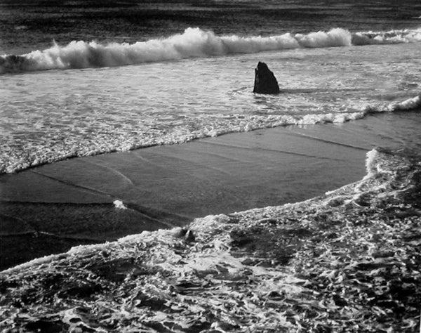 Morley Baer Landscape Photograph - Double Surf, Garrapata Beach, Sur Coast, 1966