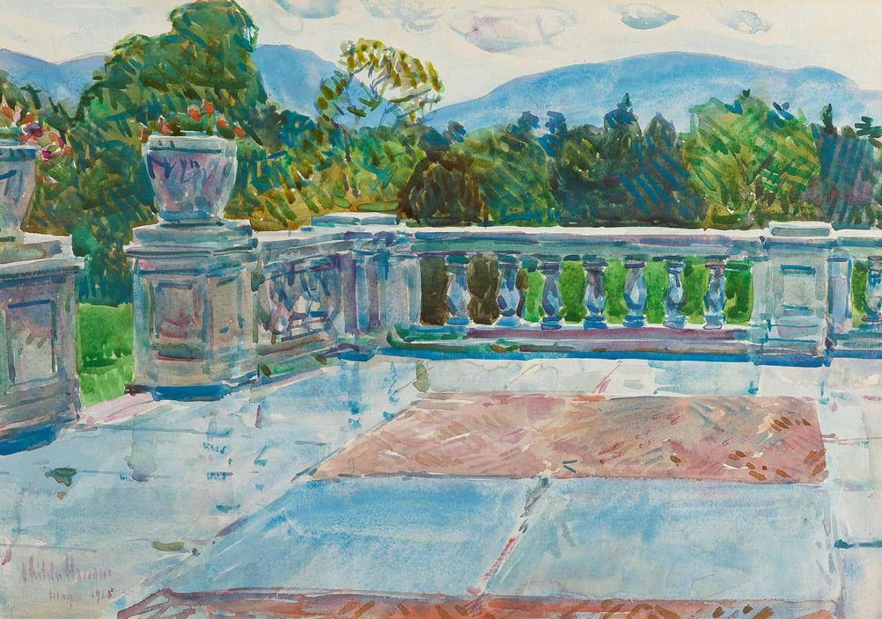 Childe hassam terrace on the hudson painting at 1stdibs for Terrace on the hudson