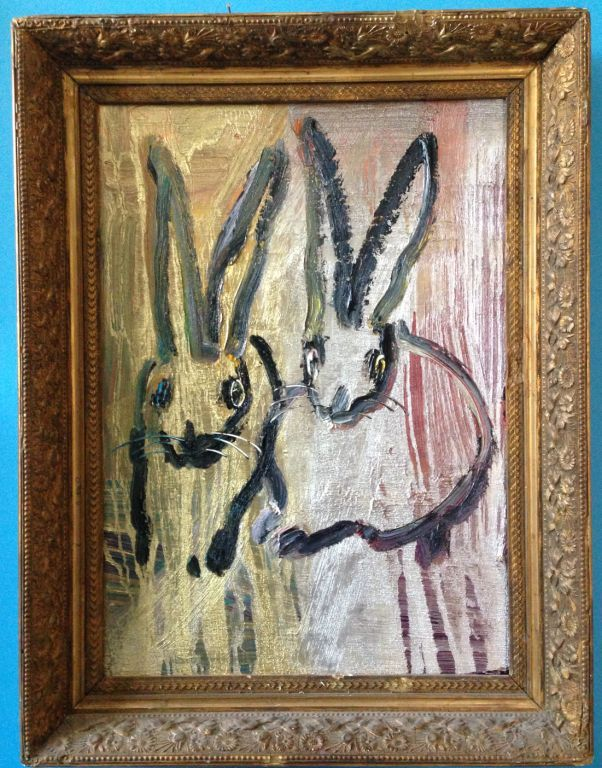 Hunt Slonem Two Bunnies On Gold And Silver Painting At