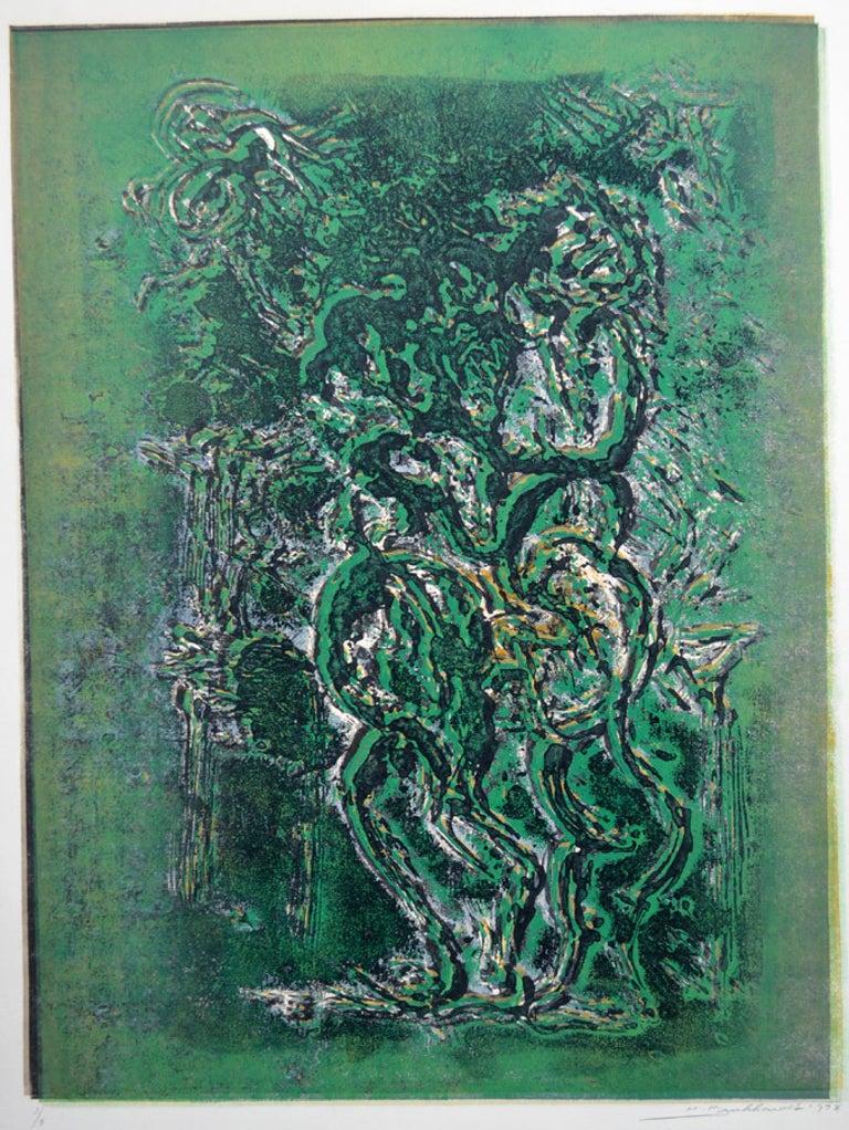 Hans Gustav Burkhardt Abstract Painting - Abstract Figure in Green