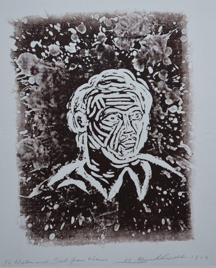 Hans Gustav Burkhardt Figurative Print - Man and the Universe