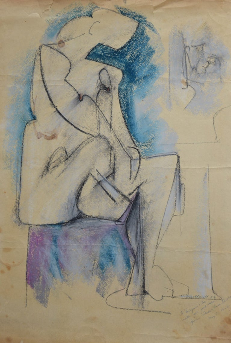 Hans Gustav Burkhardt Figurative Painting - Cubist Nude