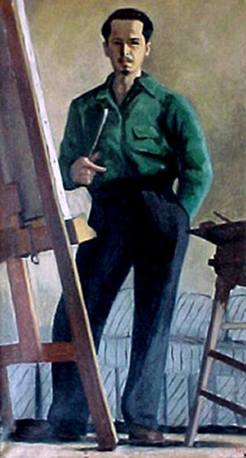 Ron Blumberg Figurative Painting - Self Portrait in Green Shirt