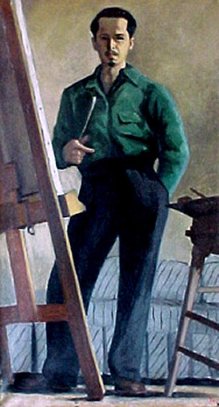 Ron Blumberg Interior Painting - Self Portrait in Green Shirt