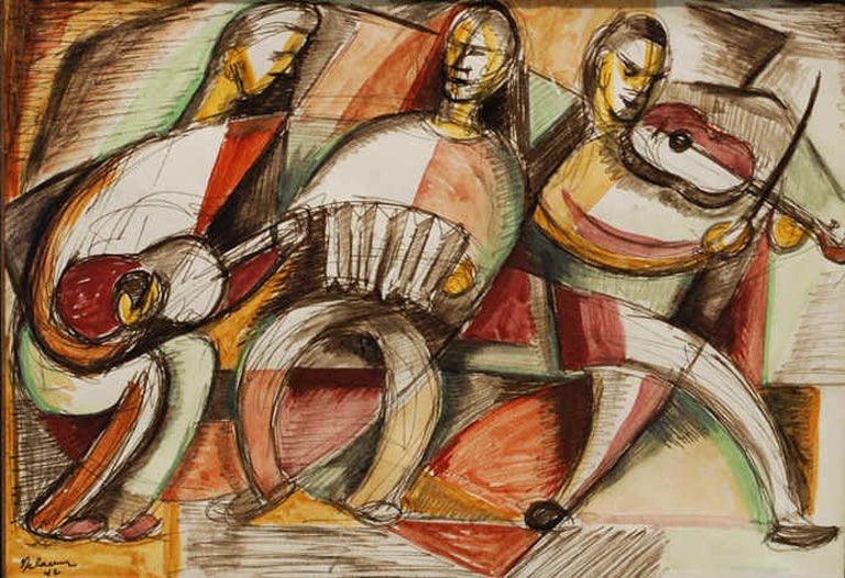 Leonard Nelson Abstract Painting - Trio