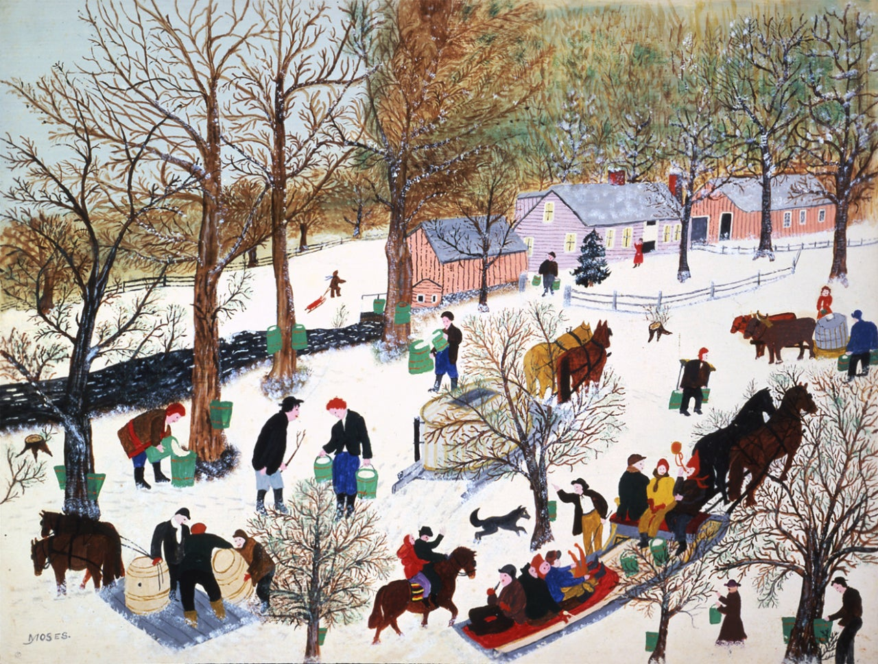 Grandma Moses - At The ADAA Art Show - Last Run of Sap, Painting at 1stdibs