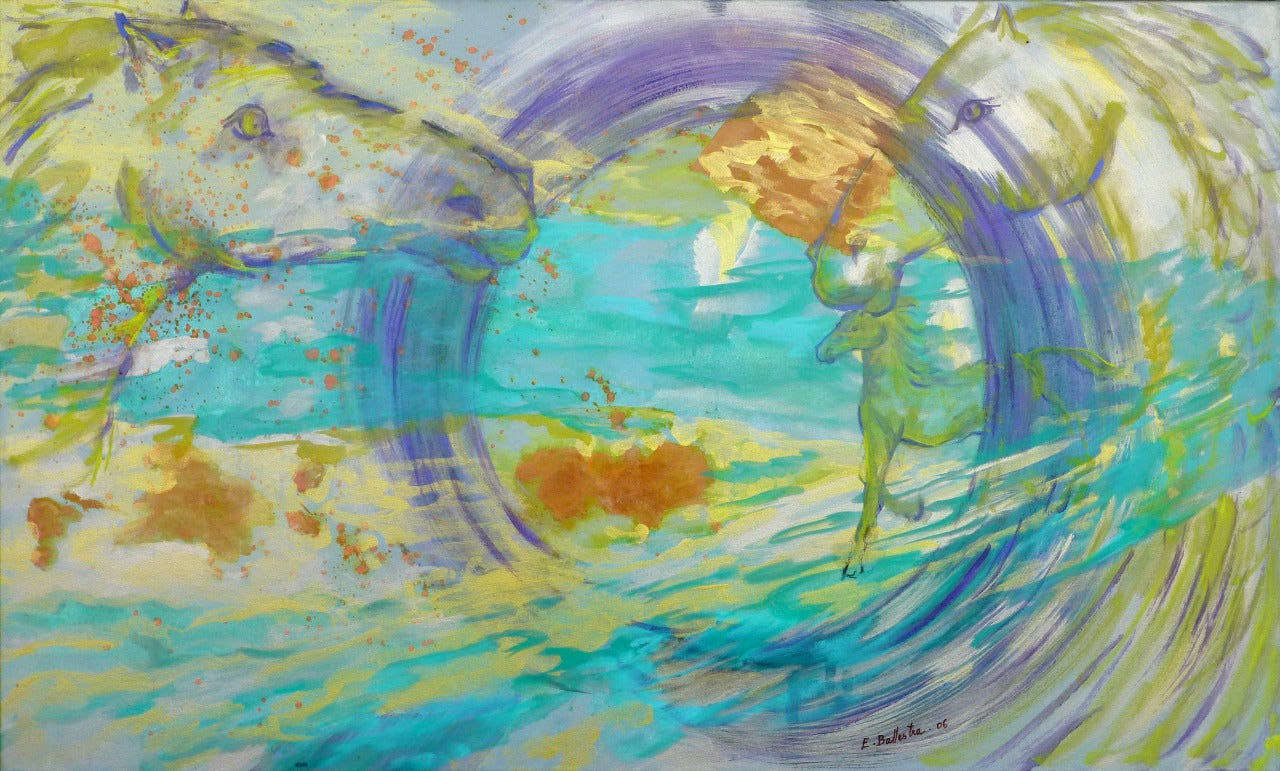 Evelyne BALLESTRA Abstract Painting - Tide