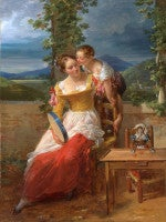 A mother and child playing on a terrace with a tambourine