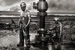 Workers Place a New Wellhead, Oil Wells, Kuwait