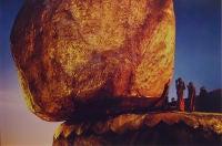 Kyaikto, Burma [Monks praying by the Golden Rock]