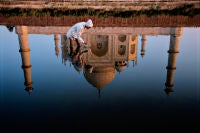 Man and Taj Reflection, Agra, India
