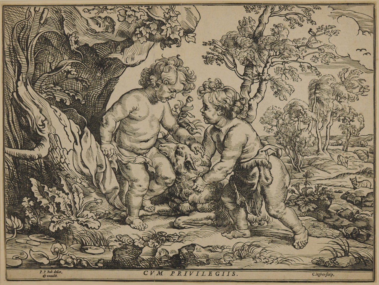 The Infant Christ and St. John Playing with the Lamb, after Peter Paul Rubens (1557-1640)