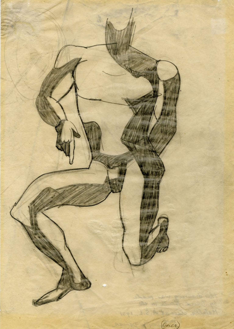 Untitled (Kneeling Male Nude) - Art by David Smith