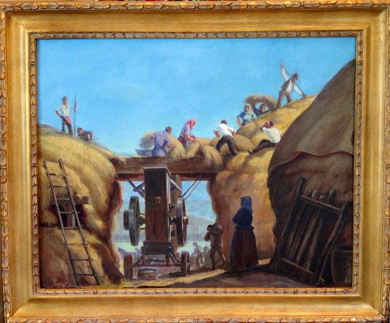 "William Attila Krusoe Figurative Painting - ""Hay Pickers"""