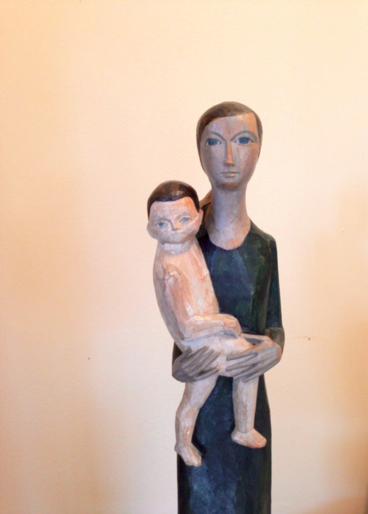 Wooden Sculpture  Signed and dated 1964 Small old repairs to both feet