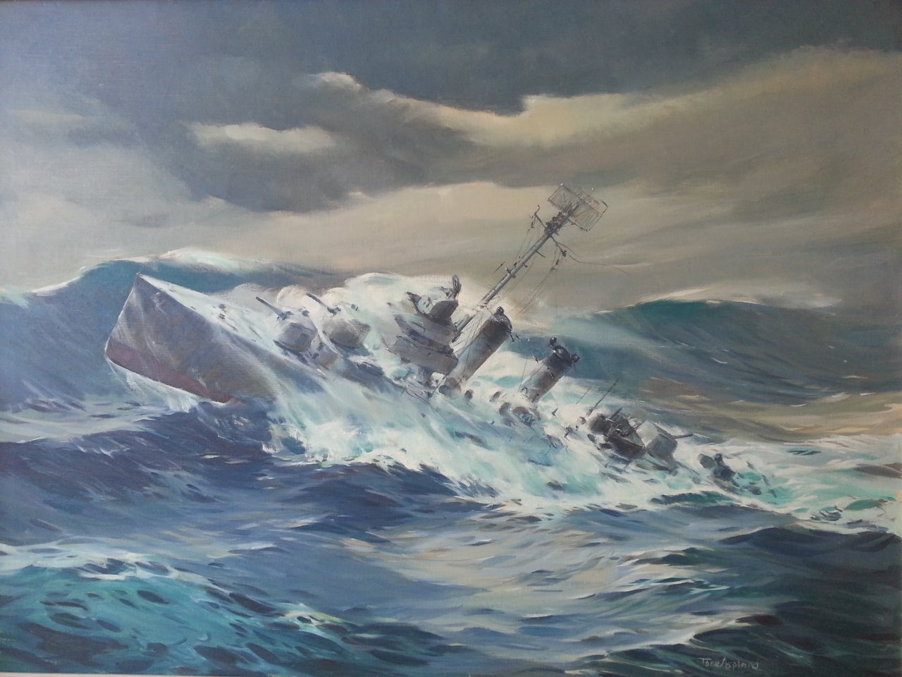 World War II Destroyer in High Seas