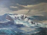 """""""World War II Destroyer in High Seas"""""""