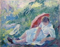 """Reclining Girl with Parasol"""