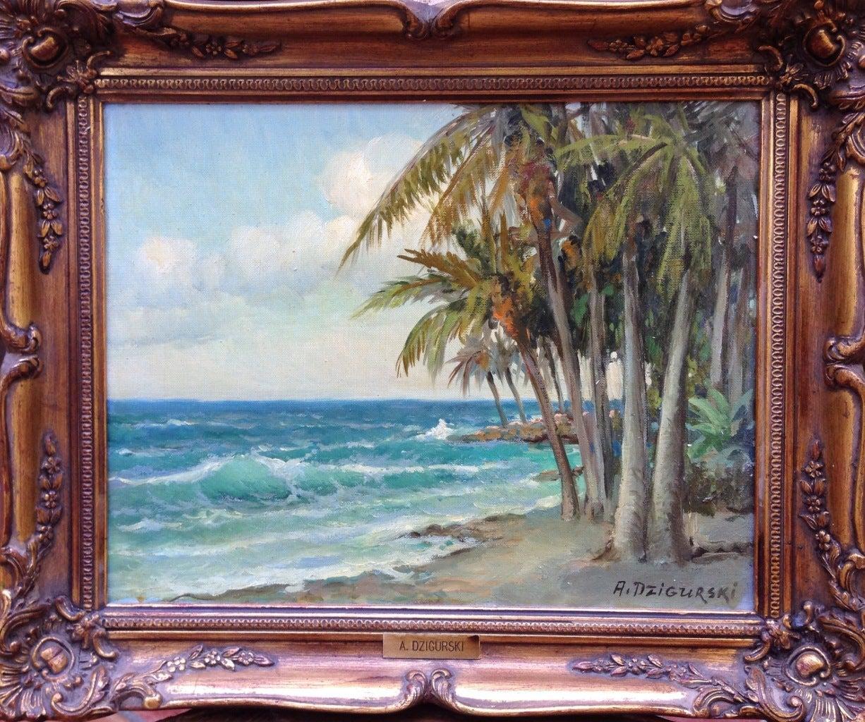 Alexander Dzigurski Palms Painting At 1stdibs