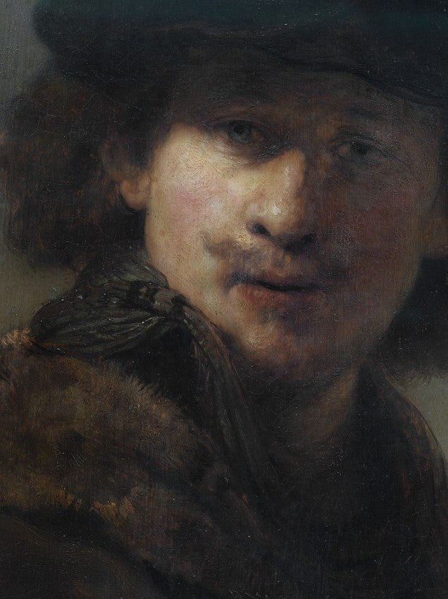 DETAIL FROM: Self Portrait with Velvet Cap and Gown with Fur Collar, 2008  RE
