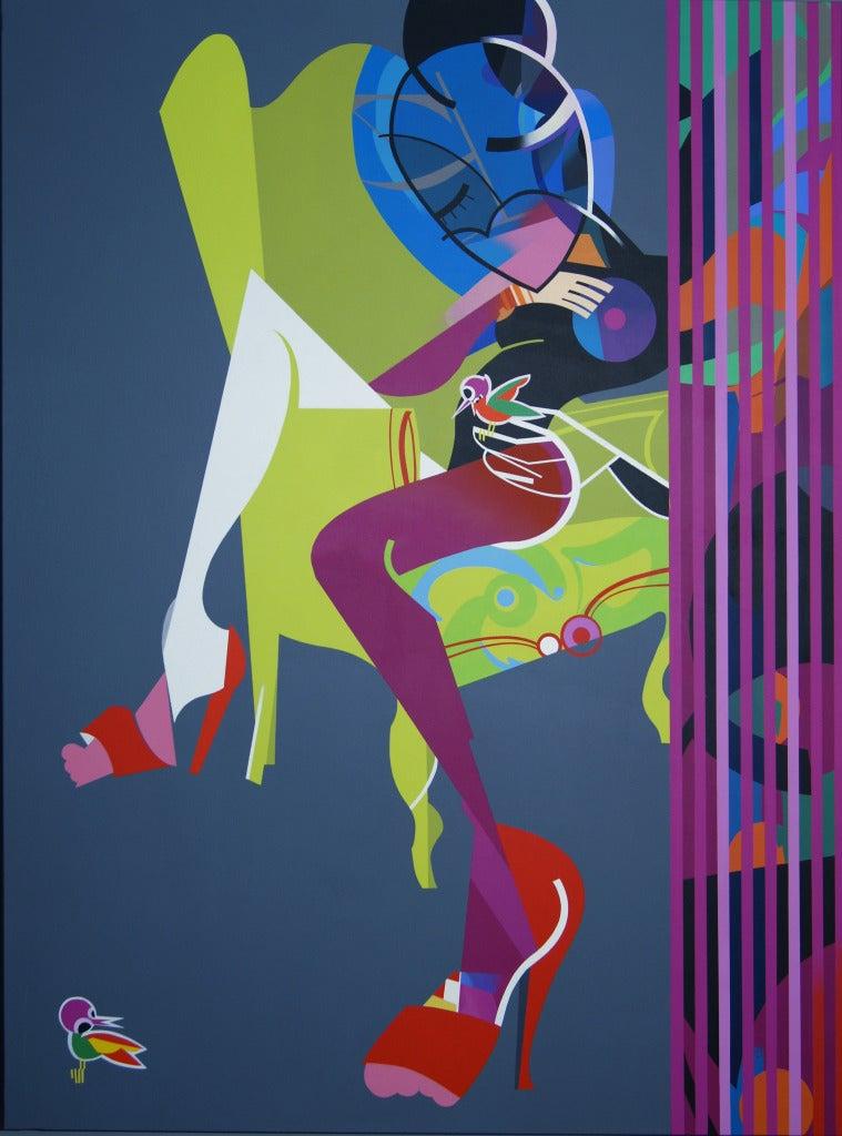 Jose Palacios, Mujer, sofa y pajaros (Woman, sofa and birds), 2013