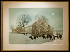 """Belted Cows at Barn, Full Moon"""