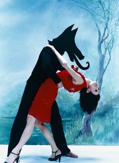 Blue, woman dancing, wolf, fashion, fantasy