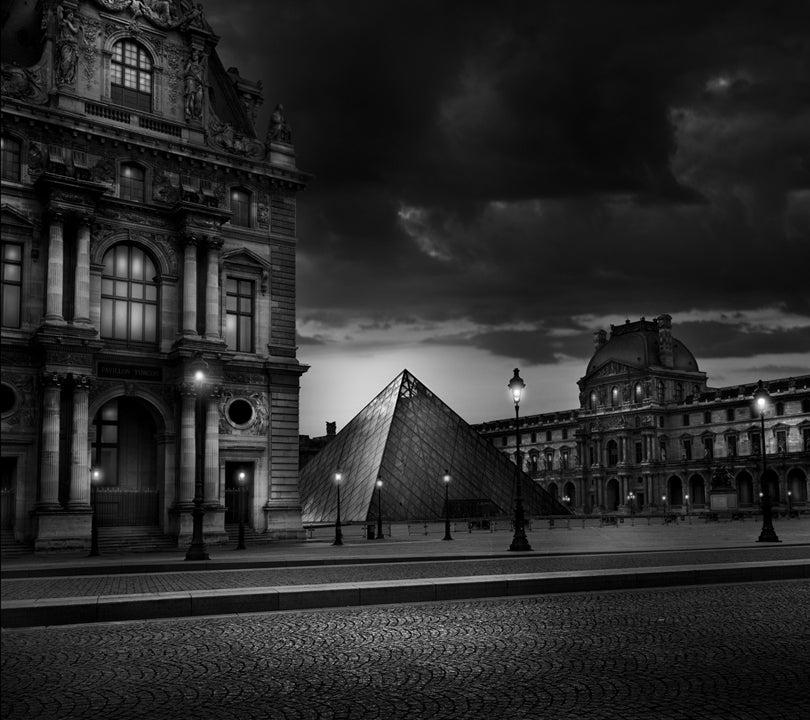 Jean michel berts black and white photograph pyramide du louvre
