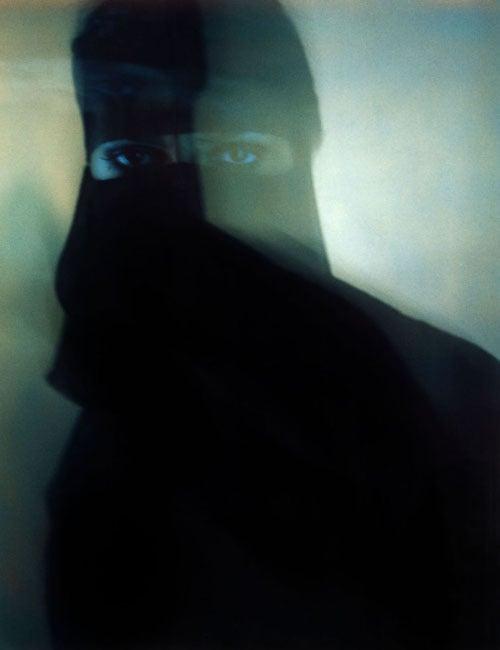 Woman,  face, oriental, Black Veil