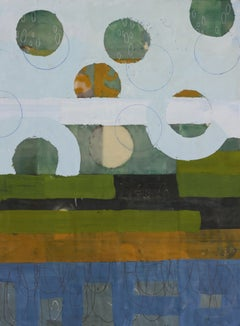 Cumulus 3, blue and green geometric abstract encaustic painting on panel. framed