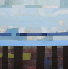 May Grey, blue and brown abstract geometric encaustic painting on panel, framed