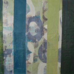 Straightening Up 1, blue and green encaustic painting on panel, framed