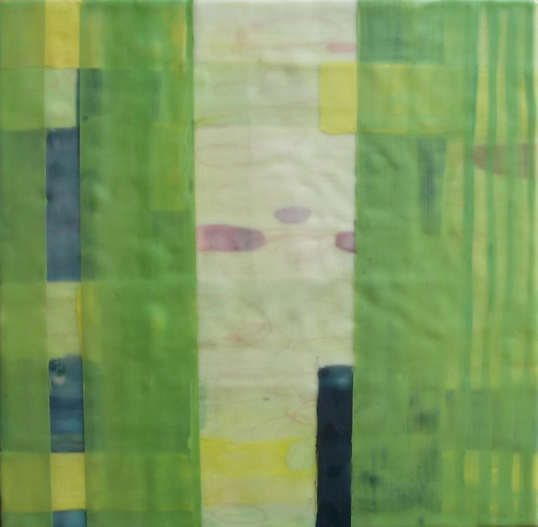 Straightening Up 7, bright green geometric abstract encaustic painting on panel - Painting by Amber George
