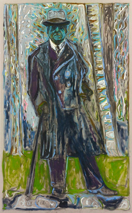 Billy Childish Sibelius Man With Stick Painting At
