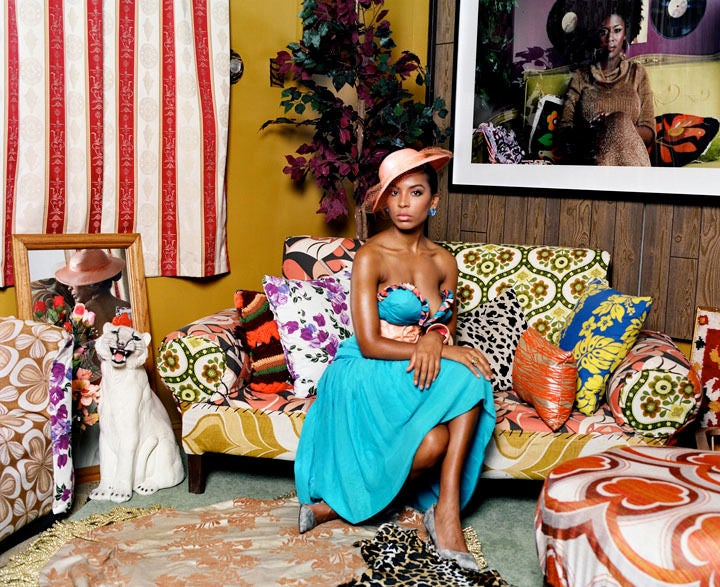 mickalene thomas portrait of lili in color photograph at 1stdibs. Black Bedroom Furniture Sets. Home Design Ideas