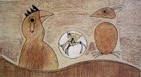 Two Birds (Ochre background)