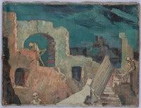 Walter Wellenstein Oil Painting Verfallener Palazzo Im Mondlicht, 1940