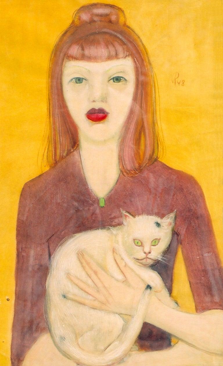 Werner Reifarth Portrait Painting - Gouache Mädchen mit Katze  ( Girl with a Cat ) by Werner Reifahrt 1948