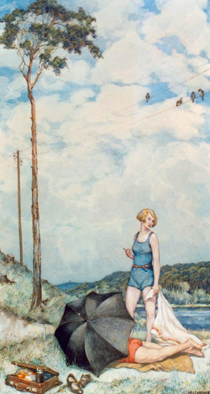 Hans Baluschek Sommer an der Havel ( Summer On The River Havel ), 1934 - Painting by Hans Baluschek