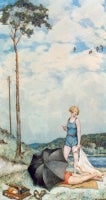"""Hans Baluschek """"Sommer an der Havel"""" ( Summer On The River Havel ), 1934"""