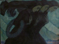 "Oil Painting on Wood ""Three Bereaved Women"" by Fritz Burmann, 1919"