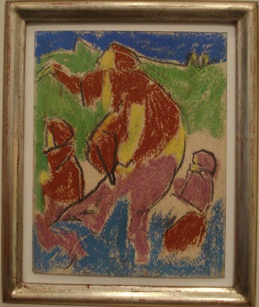 Adolf Hölzel Pastel Mutter mit Kinder ( Mother with Children ), 1930 - Abstract Painting by Adolf Hölzel