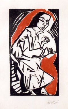 "Erich Heckel Woodcut ""Reclining Woman"", 1913"