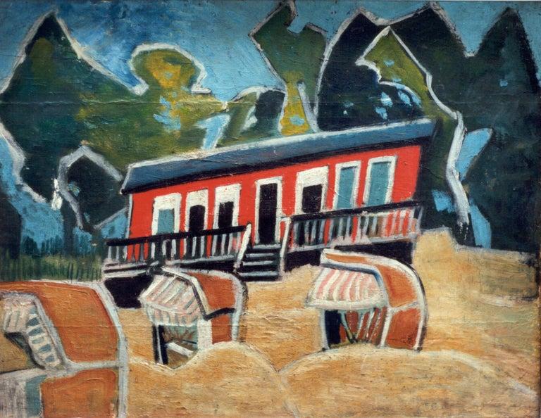 Friedrich Karl Gotsch Oil Painting on Wood ca. 1928, Rotes Haus am Strand - Brown Landscape Painting by Friedrich Karl Gotsch