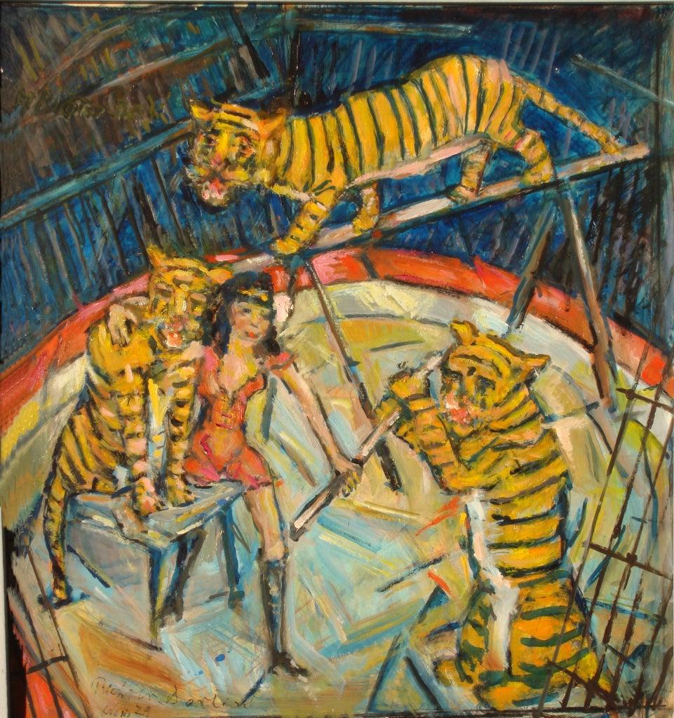 Heinrich Richter-Berlin Oil Painting Tiger Training, 1979