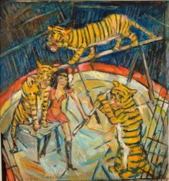 Heinrich Richter-Berlin Oil Painting Tiger Training, 1979